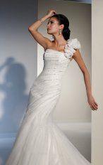 Mermaid Floor Length One-shoulder Dress White Bandage Destination Wedding Gowns 1126 Beads