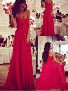 Elegant A-line Sweetheart Court Train Chiffon Sleeveless Red Prom Dress