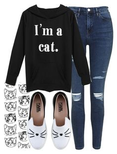 """""""I'm a cat. Lady"""" by ashkitty ❤ liked on Polyvore featuring Topshop, Bomedo and Karl Lagerfeld"""