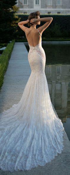 satin fit-and-flare wedding dress,sexy deep V neck and flirty peek-a-boo back wedding dress,Mop the floor long dress