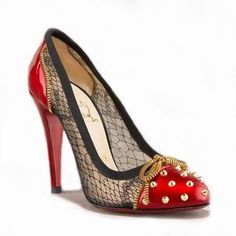 Christian Louboutin ~ Candy Lace And Patent Spike Red Pump