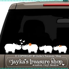 Hippopotamus Family 3.5 x 16 Car Decal by JaykasTreasureShop, $12.99