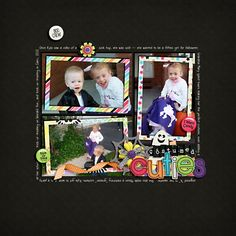 """Layout: Costume Cuties by Melissa (mfallis) Template: Mixin' It Up Templates Reasons CTM Loves: """"The mix of the black background, bright colors and framing with white journaling really makes the photos stand out. The photos are the stars of the layout!"""""""
