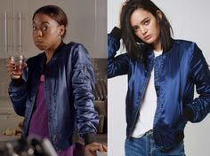 """Becca Palmerstone (Pippa Bennette-Warner) wears this blue ruched back bomber jacket with black cuffs in this episode of Sick Note, """"Queen of Hearts"""". It is the Topshop Shiny MA1 Bomber Jacket. Buy it HERE"""