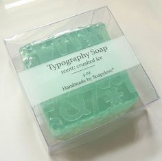 Typography Glycerin Soap, packaged by soapylovedeb, via Flickr