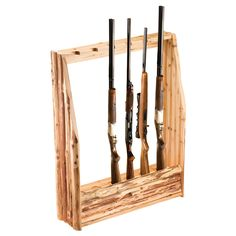 Made of solid pine with a skip-peel finish, thsi rack holds up to six guns and can be hung on the wall or freestanding. You can use the drawers to store miscellaneous hunting accessories such as ammun