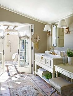 outdoor shower outside french doors
