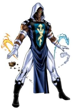 the elementalist can control any single element at a time within of him (fire, water, earth, air) Black Anime Characters, Superhero Characters, Comic Book Characters, Comic Character, Comic Books Art, Fantasy Characters, New Superheroes, Arte Elemental, League Of Heroes