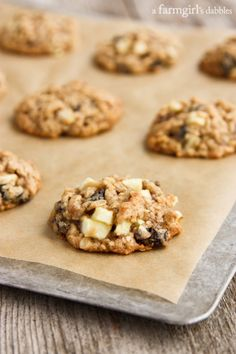 Oatmeal Cookies with Apples, Raisins, and Pecans – afarmgirlsdabbles… Oatmeal Cookie Recipes, Oatmeal Raisin Cookies, Oatmeal Bread, Blueberry Oatmeal, Baked Oatmeal, Pecan Recipes, Apple Recipes, Fall Recipes, Crockpot Recipes