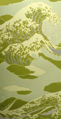 Onda wallpaper in Seafoam via Flavor Paper