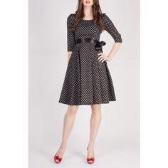 Black Dress with White Dot Detail