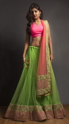 Young Trukk – Pink and Green Lehenga Choli with Light Pink Dupatta