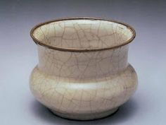 Song Dynasty Crackled Glazed Vase With Copper Rim