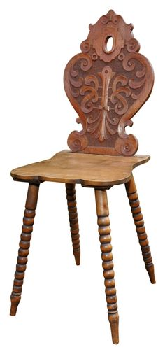 Wood Carved Chair from Austria Alpine Furniture, Country Furniture, Simply Home, Old Wood, Furniture Inspiration, Wooden Toys, Wood Crafts, Dining Chairs, House Styles