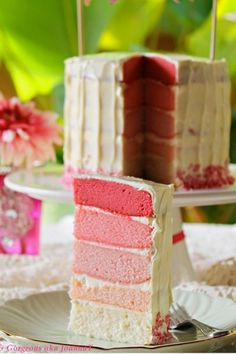 Clever and cute cake idea    Little wed hen::5 layer pink ombre cake