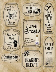Free Halloween Printables for all of your needs! Apothecary labels, multiple labels of various sizes and designs, free numbered labels/blanks, & more! Halloween Desserts, Halloween Drinks, Diy Halloween Decorations, Halloween Diy, Halloween Parties, Halloween Birthday, Happy Halloween, Halloween Apothecary Labels, Halloween Bottle Labels