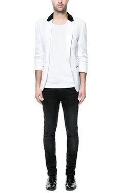 Image 1 of WHITE BLAZER WITH CONTRASTING COLLAR from Zara