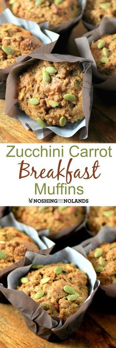 Zucchini Carrot Breakfast Muffins from Noshing With The Nolands are loaded with healthy ingredients to give you a boost! These muffins are a must make from the Homegrown cookbook I have revi. Healthy Muffins, Healthy Snacks, Healthy Recipes, Carrot Muffins, Pumpkin Zucchini Muffins, Egg Muffins, Apple Recipes, Brunch Recipes, Breakfast Recipes
