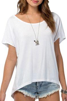 White Scoop Neck Short Sleeve T-Shirt