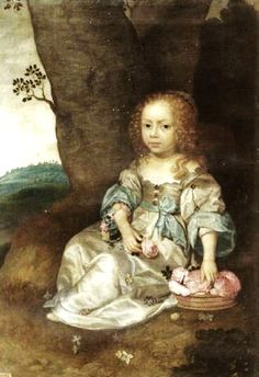 """""""Portrait of an Unknown Young Girl Seated on the Ground with a Basket of Roses"""" by Jan Mytens (1650)"""