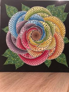 40 cm canvas paint by dotted technik. Dot Art Painting, Rock Painting Designs, Mandala Painting, Painting Patterns, Stone Painting, Painting & Drawing, Mandala Canvas, Mandala Art, Mandala Rocks