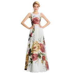Long Evening Dress Floral Print Sleeveless Pattern Night Formal  Dresses