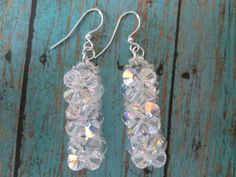 Sparkling Dangling Silver Bead Woven Clear White by BeadLove14