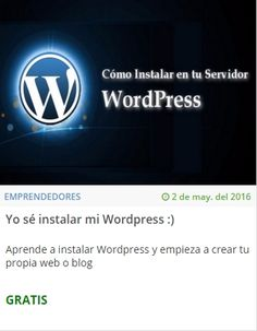 Yo sé instalar mi Wordpress