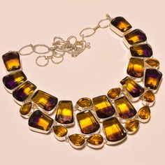 WONDERFUL FACETED AMETRINE WITH LOVELY CITRINE TOPAZ .925 SILVER NECKLACE #Handmade #Choker