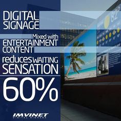 One of the many benefits of Digital Signage is its ability to entertain a specific audience and it is interesting to know that mixing the information of value and important contents of the brand with entertainment reduces the feeling of waiting up to 60%. Important data to take into account when creating the content plan of your digital circuit.  We know how to make a circuit successful if you want to know more contact us via e-mail at info@imvinet.com or visit our website www.imvinet.com…