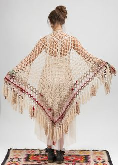 Hand knitted triangle shawl with Indian sariWedding by NaliniShop, $126.00