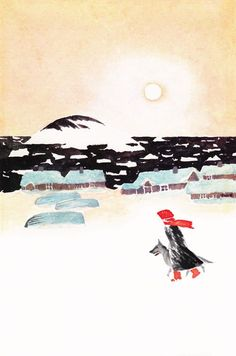 © Tove Jansson (original cover art for The True Deceiver) It had been snowing along the coast for a month. As far back as anyone could remember, there hadn't been this much snow, this steady snow piling up against doors. Children's Book Illustration, Book Illustrations, Tove Jansson, Museum Exhibition, Winter Art, Nursery Rhymes, Art Images, My Idol, Childrens Books