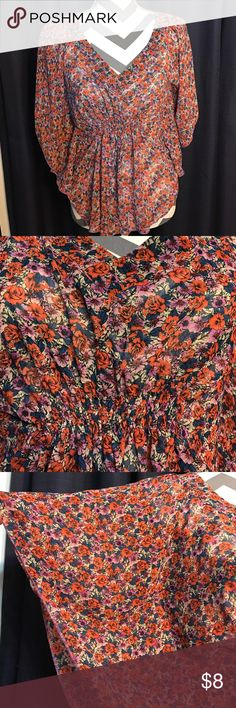 Preloved floral top Super cute preloved top. I wore this when I was working retail. Elastic front waist. Shown in pic 2. No rips, stains or holes. 100% Polyester Forever 21 Tops Blouses