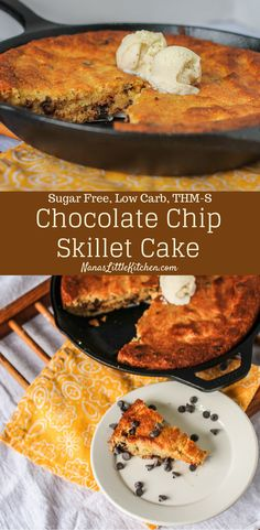 Sugar Free Chocolate Chip Skillet Cake - Indescribably rich and moist and full of chocolatey goodness.