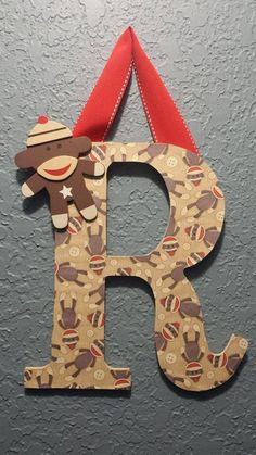 Sock Monkey Personalized Wood Letter R Wall by CMsSweetBoutique