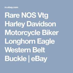 Rare NOS Vtg Harley Davidson Motorcycle Biker Longhorn Eagle Western Belt Buckle   eBay