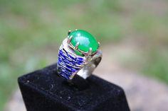 enamel sterling silver gem ring // green, blue // special design , unique enamel ring