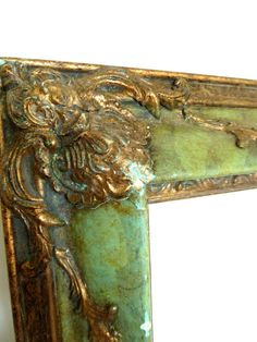 Large Beautifully Distressed Green and Gold by loveemmagray