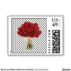Black and White Polka Dot with Red Roses Postage