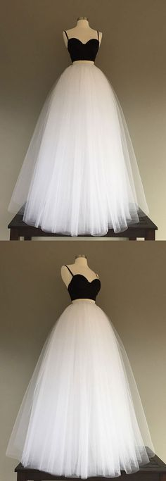 simple white/black tulle two pieces long prom dress, evening dress, wedding dress