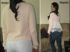 Sweater customizado com renda by Customização & Cia