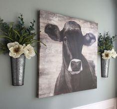 Farmhouse wall planter 20 ideas for 2019 Cow Kitchen Decor, Cow Decor, Kitchen Ideas, Kitchen Redo, Kitchen Remodel, Farmhouse Style Kitchen, Country Farmhouse Decor, Farmhouse Ideas, Kitchen Rustic