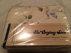 Company Store Lilac Flannel King Duvet Cover Comforter DJ68 Cream Purple Flowers #CompanyStore