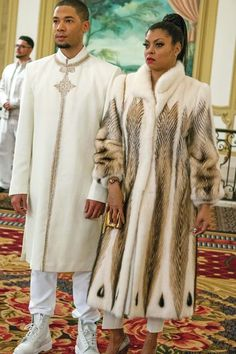 Most people think of this as the night Jamal finally lets the world know he's gay. But it's also the night that Cookie wears a white fur coat with an animal print! It's so flashy and beautiful that Jamal has to step up his style game and show up in a white-and-gold caftan.  #refinery29 http://www.refinery29.com/2015/11/96596/best-cookie-lyons-outfits-empire-fox-pictures#slide-6