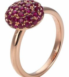 London Road 9ct Rose Gold Ruby Burlington Ball Pave set with 1 carat of sumptuous rubies, this domed 9 carat rose gold ring is 10mm in diameter and sits 6mm proud from the finger. Diameter approx 1cm approx, total of 35 rubies with a total weight  http://www.comparestoreprices.co.uk/gold-jewellery/london-road-9ct-rose-gold-ruby-burlington-ball.asp