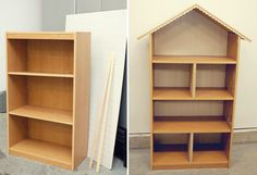 Its a doll house made out of a bookshelf. This site shows us how. Painted her favorite color. Can't wait.