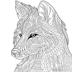 Zentangle stylized cartoon wolf, isolated on white background. Hand drawn sketch for adult antistress coloring page, T-shirt emblem, logo or tattoo with doodle, zentangle, floral design elements.