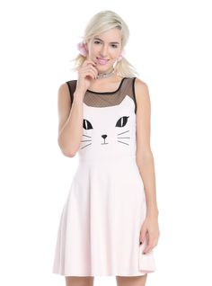 """We're totally smitten with this pink kitten dress, and who wouldn't be? The pastel pink skater dress features a black embroidered kitty face on the bodice and pointed ears that accent the """"strapless"""" neckline. A black mesh yoke and tank sleeves that meet in a V-back feature a micro-swiss dot pattern that elevates the cuteness factor to 11! The fitted waistband and flared skater skirt give you the best silhouette you could ever ask for! Back zipper closure.<div><ul><li style=""""LIST-STYLE..."""