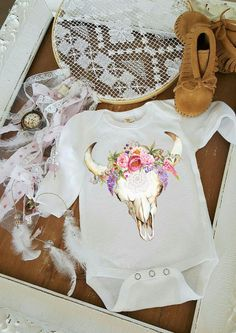 Skull and flowers Gypsy baby romper one piece boho / baby clothes / Baby Shower…
