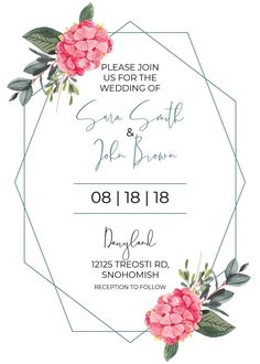 Combine modern style with tradition with this modern geometric design with traditional watercolor florals! Loving these spring colors! Modern Wedding Invites | Geometric Wedding Invites #moderntraditionalweddinginvitations #weddinginvitation
